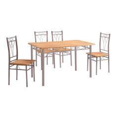 MARLOW SET ΤΡΑΠΕΖΑΡΙΑ DINING ΜΕΤΑΛΛΟ SILVER / ΦΥΣΙΚΟ Τραπέζι 120x70cm + 4 Καρέκλες