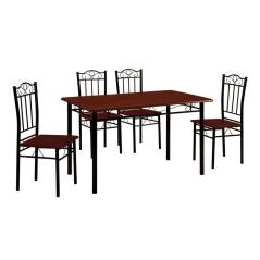 LUTON SET ΤΡΑΠΕΖΑΡΙΑ DINING ΜΕΤΑΛΛΟ ΜΑΥΡΟ / ΚΕΡΑΣΙ Τραπέζι 120x70cm + 4 Καρέκλες