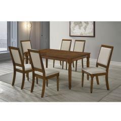 BARCO SET ΤΡΑΠΕΖΑΡΙΑ ΣΑΛΟΝΙΟΥ ΤΡΑΠΕΖΙ ΜΕ 6 ΚΑΡΕΚΛΕΣ / ΞΥΛΙΝΕΣ ΣΕ ΑΝΟΙΧΤΟ ΚΑΡΥΔΙ-ΥΦΑΣΜΑ ΜΠΕΖ Table:160x90x75 Chair:48x57x98