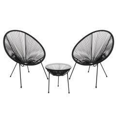 ACAPULCO Set Κήπου - Βεράντας: Τραπέζι + 2 Πολυθρόνες Μέταλλο Μαύρο / Rattan Μαύρο Τραπ:Φ50x50cm - Πολ:73x76x89cm