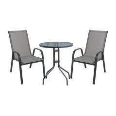 RIO Set Κήπου - Βεράντας : Τραπέζι + 2 Πολυθρόνες Μέταλλο Ανθρακί / Textilene Γκρι Table:Φ60x70 Armchair:55x75x95