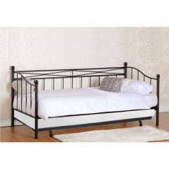 MARIN Set : Daybed με Στρώμα 90x190 + Βοηθητικό Κρεβάτι με Στρώμα 85x185 Μέταλλο Μαύρο Beds: 198x97x93/185x85x36cm