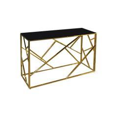 PALACE Κονσόλα / Χρώμιο Χρυσό - Γυαλί Μαύρο 120x40x78cm