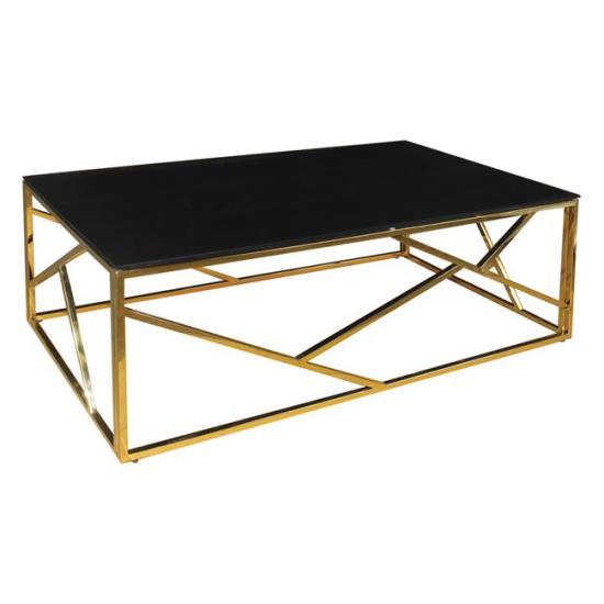 PALACE Τραπεζάκι Σαλονιού - Καθιστικού / Χρώμιο Χρυσό - Γυαλί Μαύρο 120x60x45cm