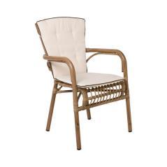 PANTHEON Πολυθρόνα Αλουμίνιο- Wicker Φυσικό/Μαξιλάρι Μπεζ 56x61x90cm