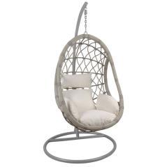 MACAN Κρεμαστή Πολυθρόνα Γκρι/Μαξιλάρι Άσπρο Φ105x203cm