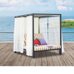 MANILA Κρεβάτι Εξωτερ.Χώρου Alu Ανθρακί/Ύφασμα Εκρού-Μπεζ 160x196x200cm