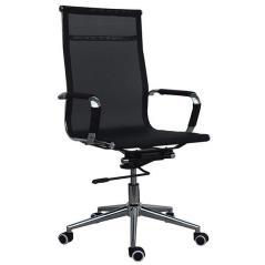 Καρέκλα διευθυντική τροχήλατη μαύρη με ενιαία πλάτη Mesh 92x48x60 cm