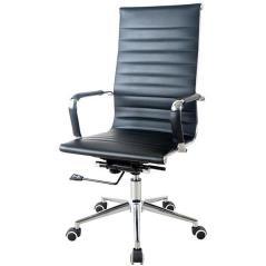 Καρέκλα διευθυντική τροχήλατη με μεταλλική βάση και δερματίνη σε μαύρο χρώμα (ΜΠΥ)60x48x92 cm