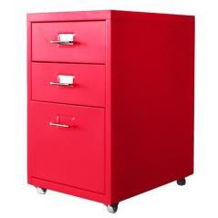 Nextdeco συρταριέρα με 3 συρτάρια κόκκινη μεταλλική (ΜΠΥ)41x28x48,6 cm