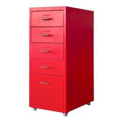 Nextdeco συρταριέρα με 5 συρτάρια κόκκινη μεταλλική (ΜΠΥ)41x28x69 cm