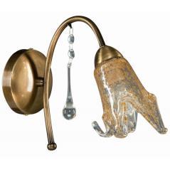 Απλίκα Μέταλλο μπρονζέ Ε14 με γυαλί 20x28cm
