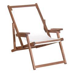 Καρέκλα Σεζλόνγκ Πτυσσόμενη Ξύλινη Οξυά Καρυδί 102x63x81cm