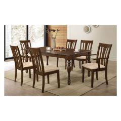 MOLTEN Σετ Τραπεζαρία Σκούρο Καρυδί / Ύφασμα Μπεζ : Τραπέζι + 4 Καρέκλες + 2 Πολυθρόνες