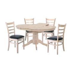 NIRVANA Σετ Τραπεζαρία Σαλονιού-Κουζίνας Ξύλο WhiteWash-PU: Τραπέζι Επεκτεινόμενο + 4 Καρέκλες
