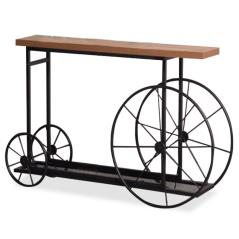 Bike Κονσόλα χρώμα μαύρο-καρυδί 148x28x85 cm