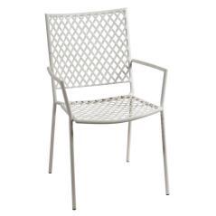 Μεταλλική Στοιβαζόμενη Πολυθρόνα Λευκή 57x62x89cm