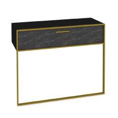 Pwf-0298 Κονσόλα χρώμα μαύρο μαρμάρου-χρυσό 90x38,5x77 cm