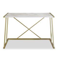 Pwf-0332 Γραφείο - κονσόλα μελαμίνηχρώμα λευκό μαρμάρου-χρυσό 120x75x75 cm