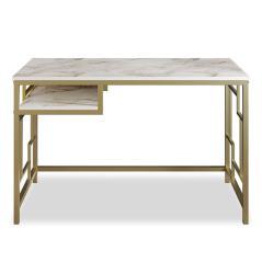 Pwf-0335 Γραφείο - κονσόλα χρώμα λευκό μαρμάρου-χρυσό 120x60x75 cm