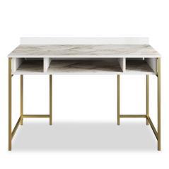 Pwf-0336 Γραφείο - κονσόλα χρώμα λευκό μαρμάρου-χρυσό 119,5x62x65 cm