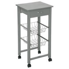 Vaga Τρόλεϊ-ραφιέρα κουζίνας MDF-μέταλλο γκρι 39x36x81cm
