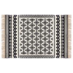 Delhi Χαλί βαμβάκι μαύρο-λευκό 170x120cm