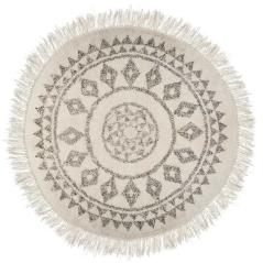 Etnic Χαλί βαμβάκι λευκό-μαύρο Φ120x1cm