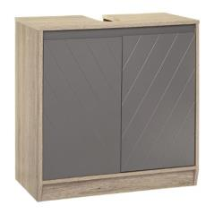 Elda Πάγκος-ντουλάπι μπάνιου χρώμα φυσικό-ανθρακί ματ 60x30x60 cm