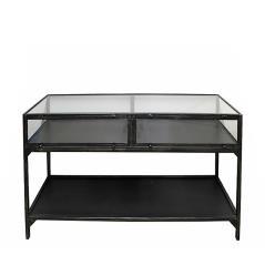 Κονσόλα/βιτρίνα από γυαλί και σίδερο σε μαύρο χρώμα 137x42x73cm | ZAROS