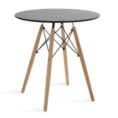 Julita Τραπέζι Φ70 επιφάνεια MDF μαύρο 70x70x73cm