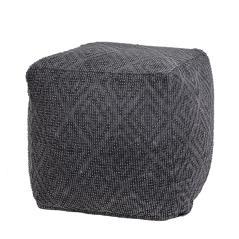 Πουφ γεωμετρικό ζακάρ, σκούρο γκρι ύφασμα 45x45x45cm | ZAROS