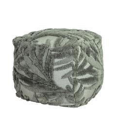 Πουφ υφαντό με ανάγλυφα φύλλα, πράσινο-γκρι ύφασμα 45x45x45cm | ZAROS