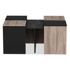 Owen Πολυμορφικό τραπέζι σαλονιού χρώμα καρυδί-μαύρο 130x70x47 cm
