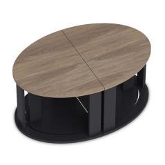 Antella Τραπέζια σαλονιού χρώμα καρυδί - ανθρακί 90x60x41 cm
