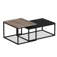 Leka Τραπέζι σαλονιού χρώμα καρυδί - μαύρο 60x45x47 cm