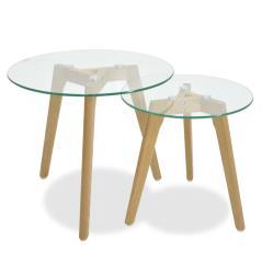 Smith Βοηθητικά τραπέζια σαλονιού γυάλινα σετ 2τμχ 50x50x46 cm