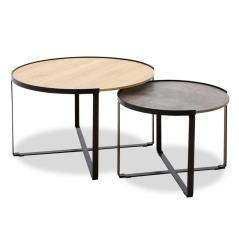 Rebo Τραπέζια σαλονιού σετ 2 τεμ χρώματος γκρι cement -φυσικό 70x69x46 cm