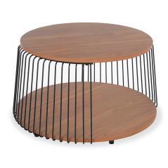 Leif Τραπέζι σαλονιού χρώμα φυσικό-μαύρο Φ72x45,5cm