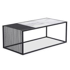 Code Τραπέζι σαλονιού γυαλί-μεταλλικό χρώμα μαύρο 120x60x45cm