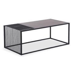 Code Τραπέζι σαλονιού MDF μεταλλικό χρώμα μαύρο-φυσικό 120x60x45cm