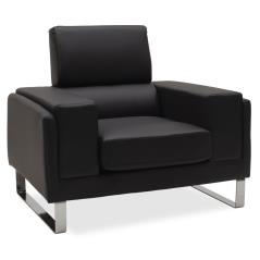 Shea Πολυθρόνα pu μαύρο-inox 104x80x87cm