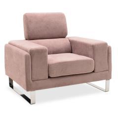 Shea Πολυθρόνα ύφασμα σάπιο μήλο-inox 104x80x87cm