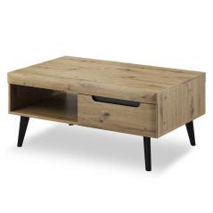 Nordi Τραπέζι σαλονιού φυσικό με λεπτομέρειες σε μαύρο χρώμα 107x67x46 cm