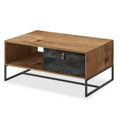 Dark Τραπέζι σαλονιού μελαμίνη χρώμα καρυδί - μαύρο antique 104x68x44 cm