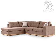 Boston Γωνιακός καναπές δεξιά γωνία ύφασμα mocha-cream 280x225x90cm