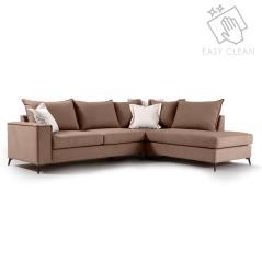 Romantic Γωνιακός καναπές αριστερή γωνία ύφασμα mocha-cream 290x235x95cm
