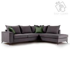 Romantic Γωνιακός καναπές αριστερή γωνία ύφασμα ανθρακί-κυπαρισσί 290x235x95cm