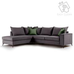 Romantic Γωνιακός καναπές δεξιά γωνία ύφασμα ανθρακί-κυπαρισσί 290x235x95cm