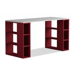 Colmar Γραφείο χρώμα λευκό - σκούρο κόκκινο 140x60x75 cm